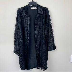 Vintage Victoria Secret Black Silk Button Up